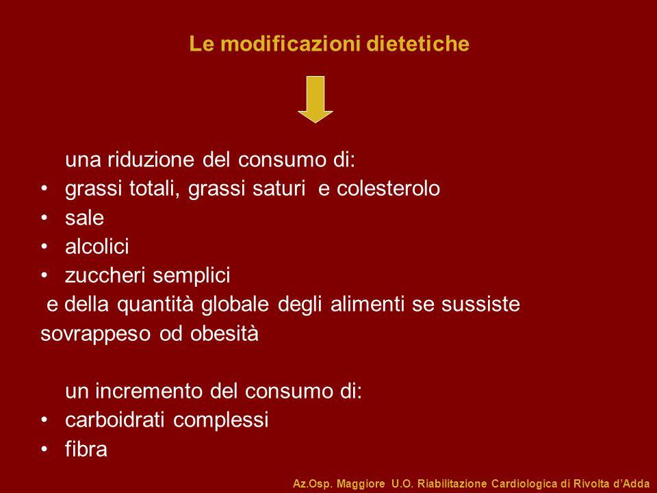 Le modificazioni dietetiche una riduzione del consumo di: grassi totali, grassi saturi e colesterolo sale alcolici zuccheri semplici e della quantità