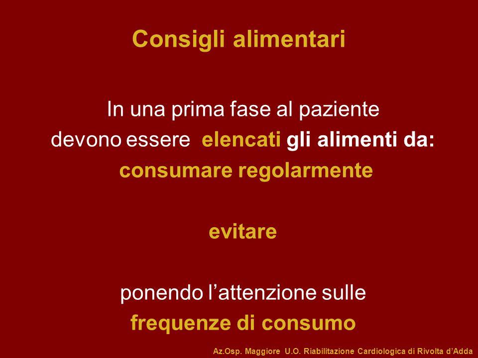 In una prima fase al paziente devono essere elencati gli alimenti da: consumare regolarmente evitare ponendo lattenzione sulle frequenze di consumo Co