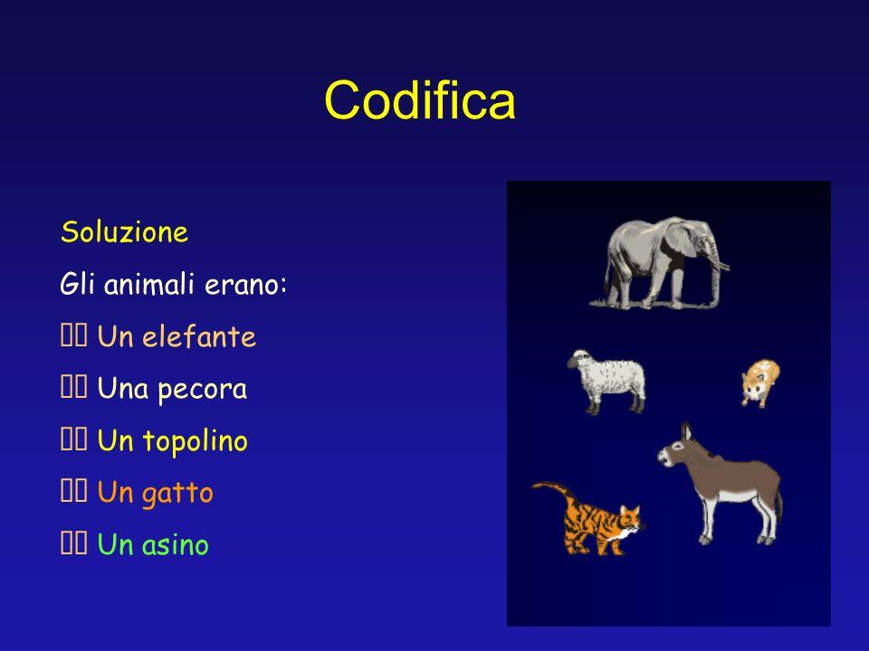 Codifica Soluzione Gli animali erano: Un elefante Una pecora Un topolino Un gatto Un asino