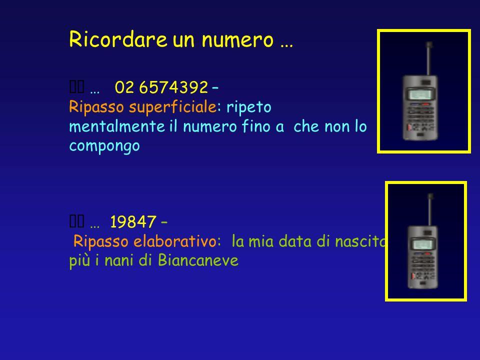 Ricordare un numero … … 02 6574392 – Ripasso superficiale: ripeto mentalmente il numero fino a che non lo compongo … 19847 – Ripasso elaborativo: la m