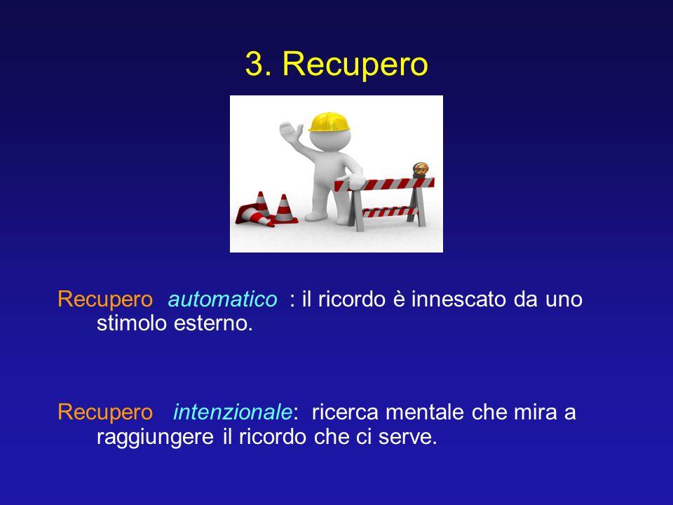 3. Recupero Recupero automatico : il ricordo è innescato da uno stimolo esterno. Recupero intenzionale: ricerca mentale che mira a raggiungere il rico