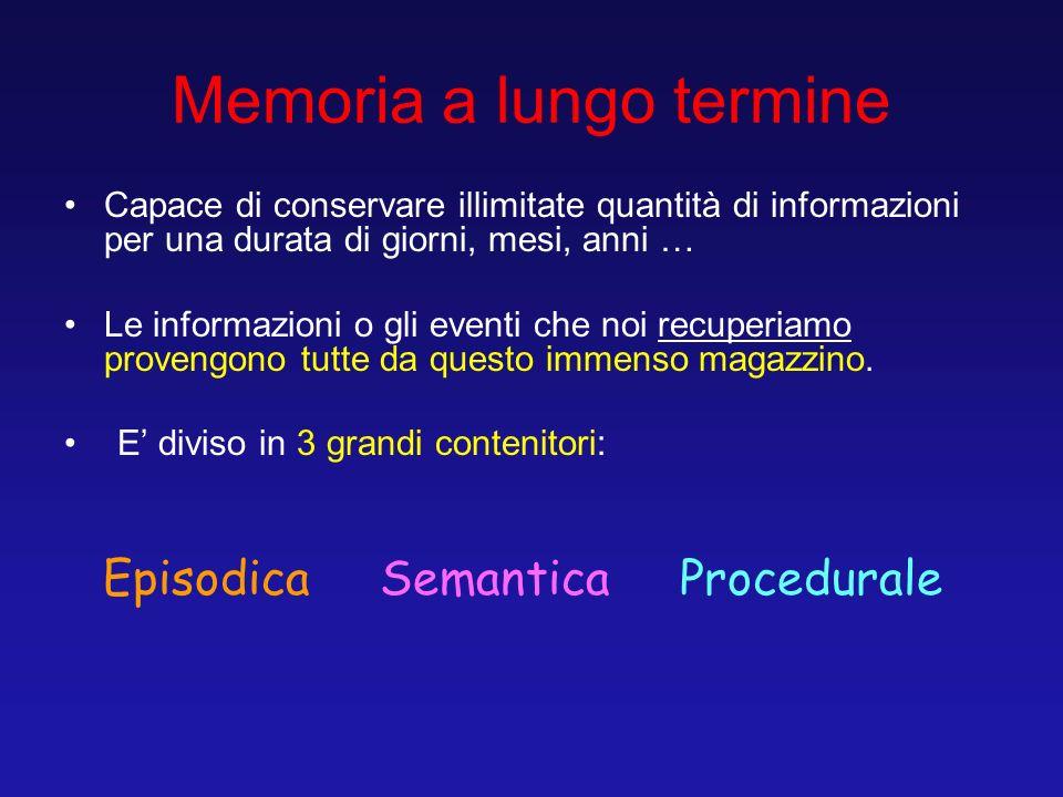 Memoria a lungo termine Capace di conservare illimitate quantità di informazioni per una durata di giorni, mesi, anni … Le informazioni o gli eventi c