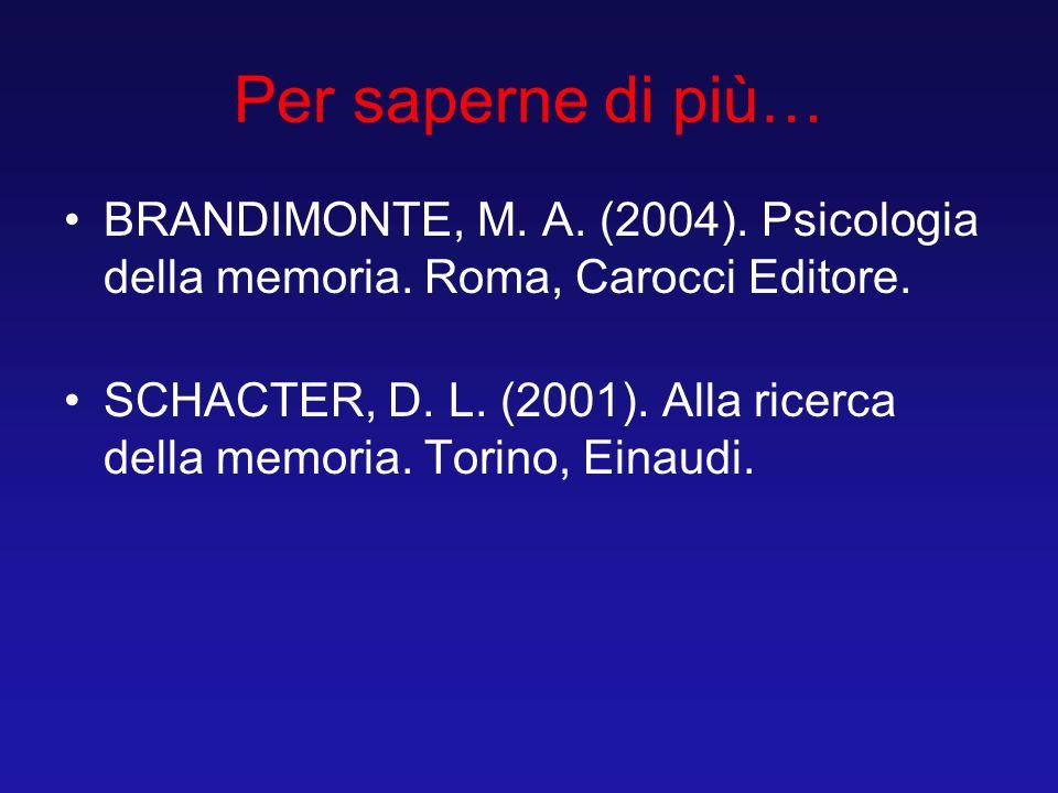 Per saperne di più… BRANDIMONTE, M. A. (2004). Psicologia della memoria. Roma, Carocci Editore. SCHACTER, D. L. (2001). Alla ricerca della memoria. To