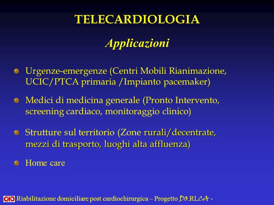 Urgenze-emergenze (Centri Mobili Rianimazione, UCIC/PTCA primaria /Impianto pacemaker) Medici di medicina generale (Pronto Intervento, screening cardi