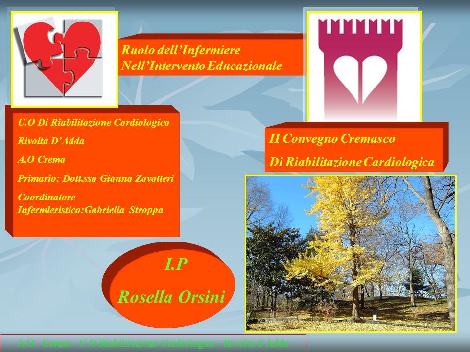 A.O. Crema - U.O Riabilitazione Cardiologica - Rivolta dAdda I.P Rosella Orsini U.O Di Riabilitazione Cardiologica Rivolta DAdda A.O Crema Primario: D