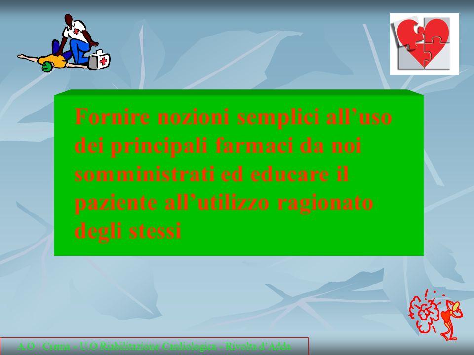 Fornire nozioni semplici alluso dei principali farmaci da noi somministrati ed educare il paziente allutilizzo ragionato degli stessi A.O. Crema - U.O