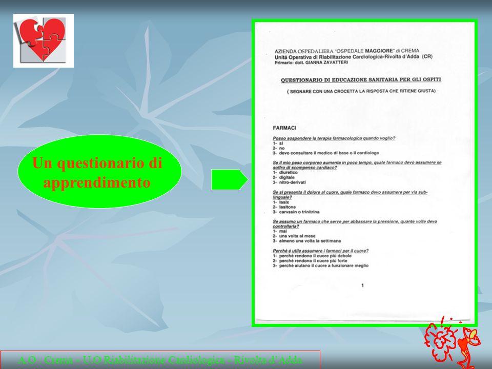 Un questionario di apprendimento A.O. Crema - U.O Riabilitazione Cardiologica - Rivolta dAdda
