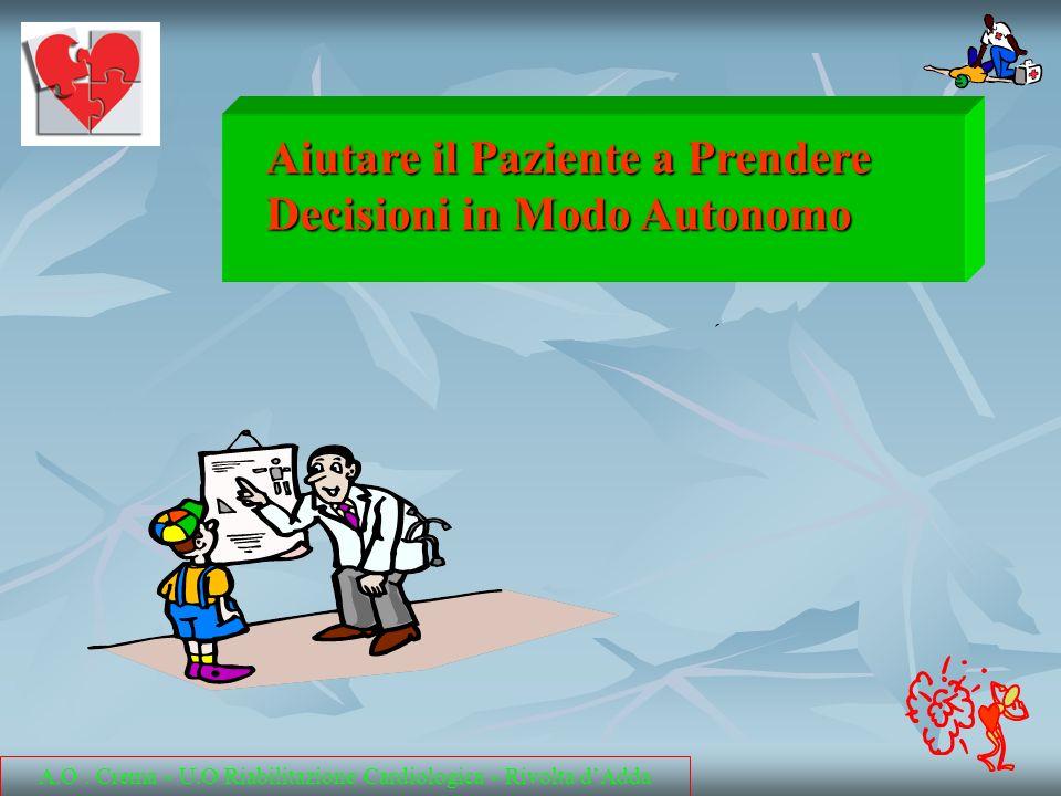 Aiutare il Paziente a Prendere Decisioni in Modo Autonomo A.O. Crema - U.O Riabilitazione Cardiologica - Rivolta dAdda