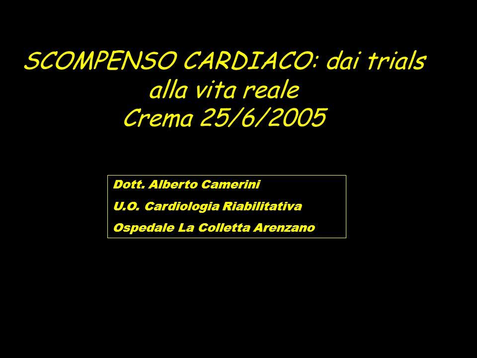 SCOMPENSO CARDIACO: dai trials alla vita reale Crema 25/6/2005 Dott. Alberto Camerini U.O. Cardiologia Riabilitativa Ospedale La Colletta Arenzano