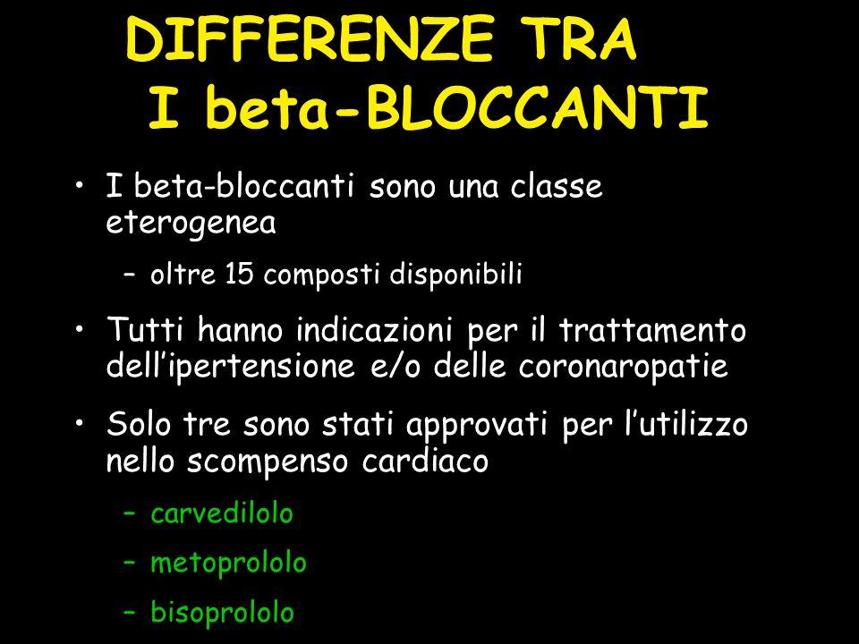 I beta-bloccanti sono una classe eterogenea –oltre 15 composti disponibili Tutti hanno indicazioni per il trattamento dellipertensione e/o delle coron