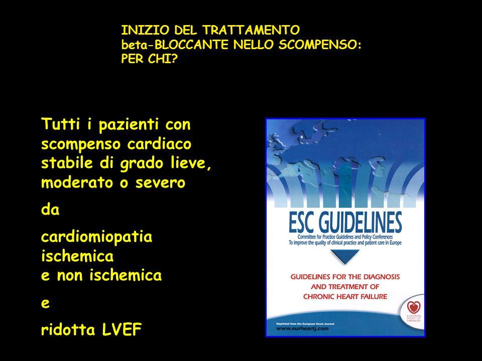 Tutti i pazienti con scompenso cardiaco stabile di grado lieve, moderato o severo da cardiomiopatia ischemica e non ischemica e ridotta LVEF INIZIO DE