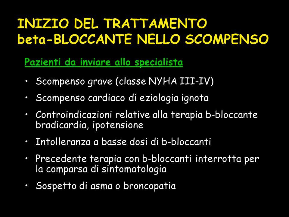 Scompenso grave (classe NYHA III-IV) Scompenso cardiaco di eziologia ignota Controindicazioni relative alla terapia b-bloccante bradicardia, ipotensione Intolleranza a basse dosi di b-bloccanti Precedente terapia con b-bloccanti interrotta per la comparsa di sintomatologia Sospetto di asma o broncopatia Pazienti da inviare allo specialista INIZIO DEL TRATTAMENTO beta-BLOCCANTE NELLO SCOMPENSO