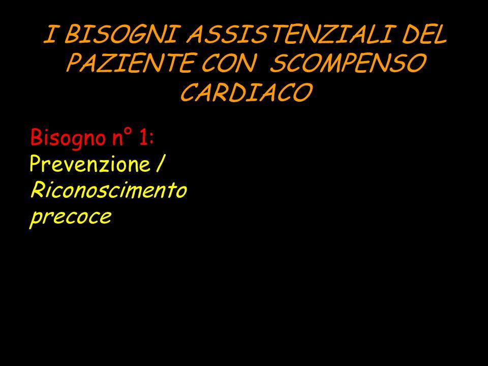 I BISOGNI ASSISTENZIALI DEL PAZIENTE CON SCOMPENSO CARDIACO Bisogno n° 1: Prevenzione / Riconoscimento precoce