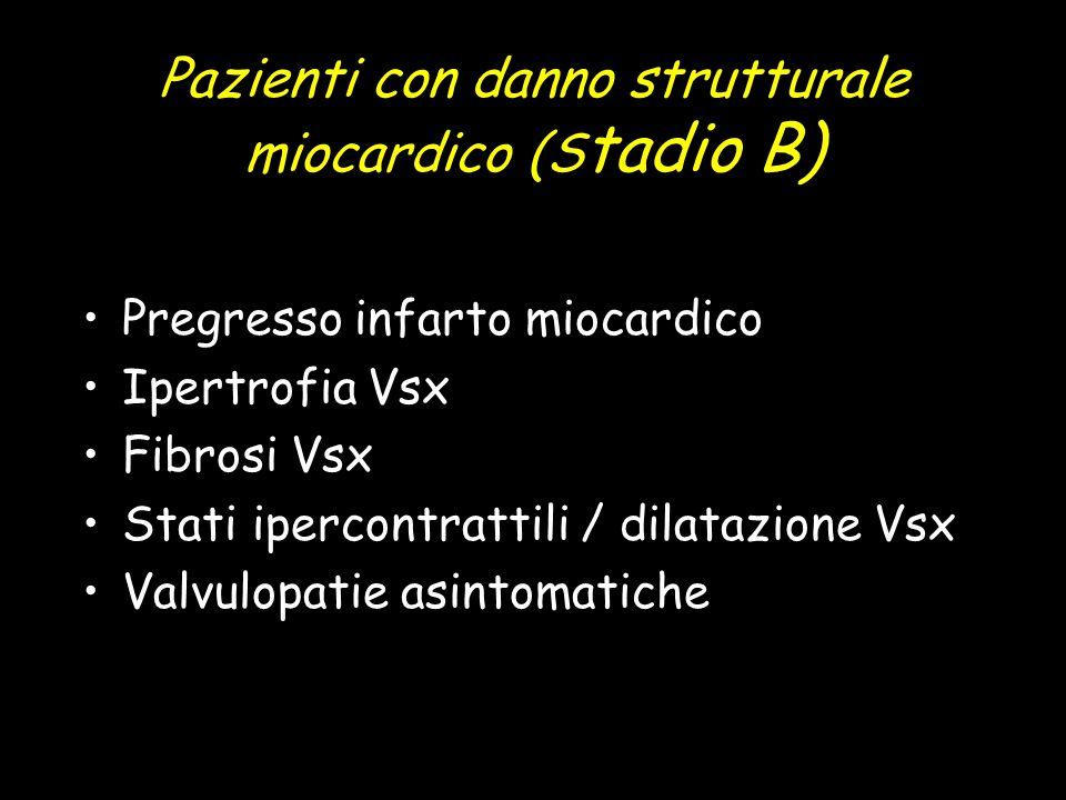 Pazienti con danno strutturale miocardico (S tadio B) Pregresso infarto miocardico Ipertrofia Vsx Fibrosi Vsx Stati ipercontrattili / dilatazione Vsx Valvulopatie asintomatiche