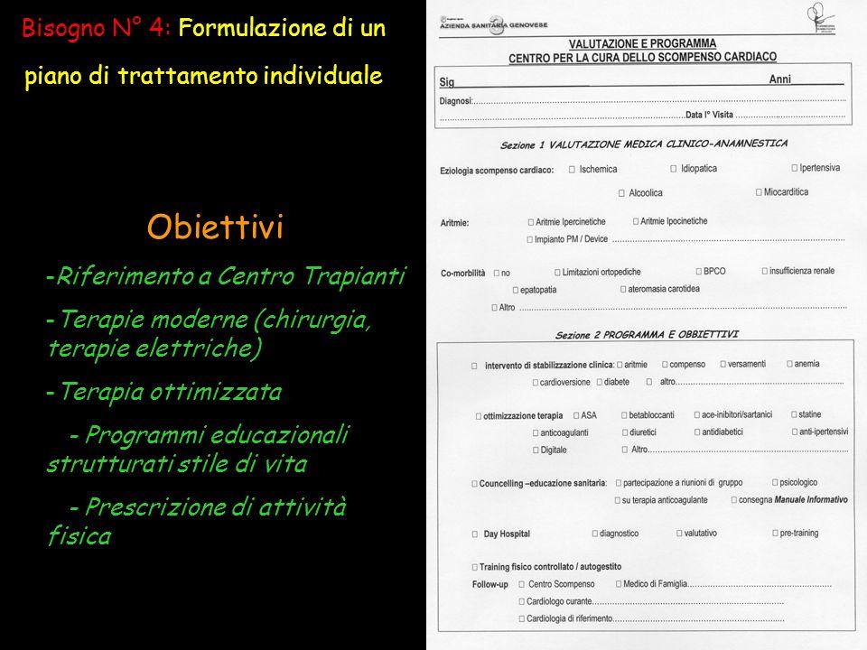 Bisogno N° 4: Formulazione di un piano di trattamento individuale Obiettivi -Riferimento a Centro Trapianti -Terapie moderne (chirurgia, terapie elettriche) -Terapia ottimizzata - Programmi educazionali strutturati stile di vita - Prescrizione di attività fisica