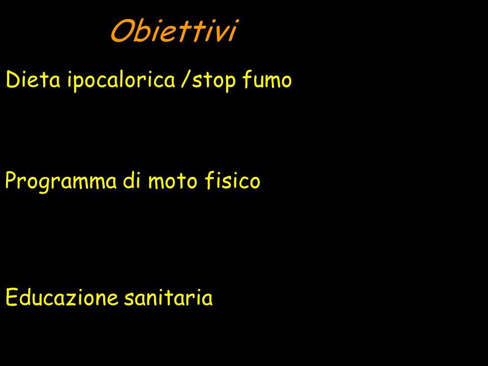 Obiettivi Dieta ipocalorica /stop fumo Programma di moto fisico Educazione sanitaria