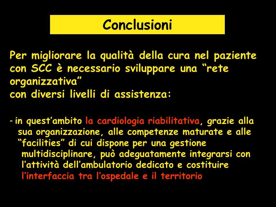 Conclusioni Per migliorare la qualità della cura nel paziente con SCC è necessario sviluppare una rete organizzativa con diversi livelli di assistenza