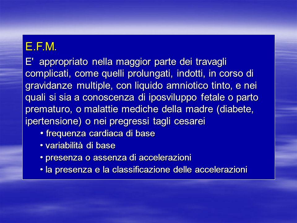E.F.M. E' appropriato nella maggior parte dei travagli complicati, come quelli prolungati, indotti, in corso di gravidanze multiple, con liquido amnio