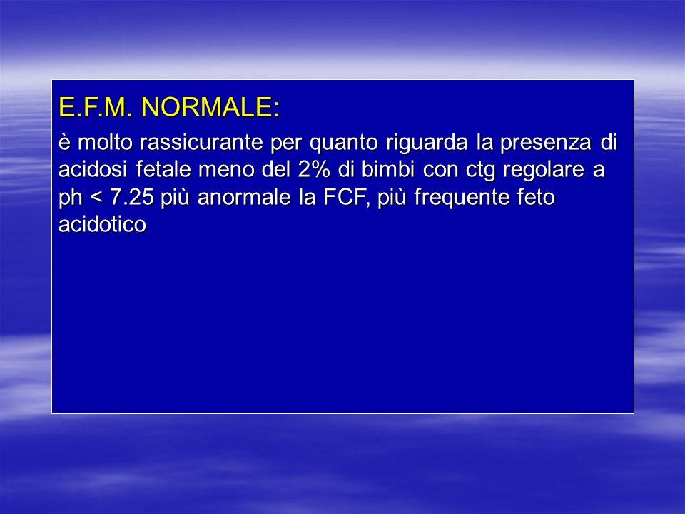 E.F.M. NORMALE: è molto rassicurante per quanto riguarda la presenza di acidosi fetale meno del 2% di bimbi con ctg regolare a ph < 7.25 più anormale