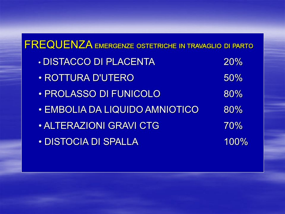 FREQUENZA EMERGENZE OSTETRICHE IN TRAVAGLIO DI PARTO DISTACCO DI PLACENTA 20% DISTACCO DI PLACENTA 20% ROTTURA D'UTERO50% ROTTURA D'UTERO50% PROLASSO