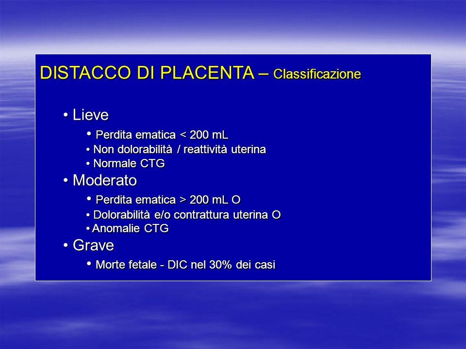 DISTACCO DI PLACENTA – Classificazione Lieve Lieve Perdita ematica < 200 mL Perdita ematica < 200 mL Non dolorabilità / reattività uterina Non dolorab