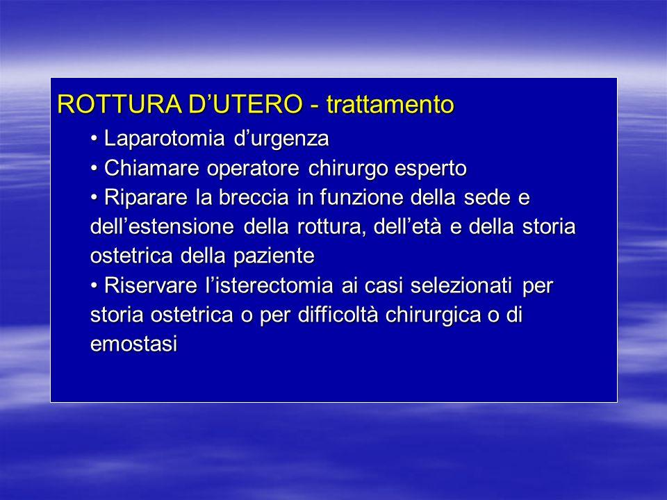 ROTTURA DUTERO - trattamento Laparotomia durgenza Laparotomia durgenza Chiamare operatore chirurgo esperto Chiamare operatore chirurgo esperto Riparar