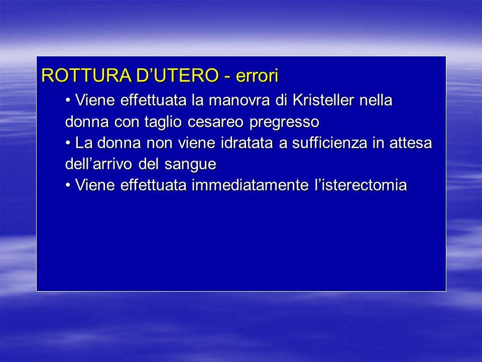 ROTTURA DUTERO - errori Viene effettuata la manovra di Kristeller nella donna con taglio cesareo pregresso Viene effettuata la manovra di Kristeller n