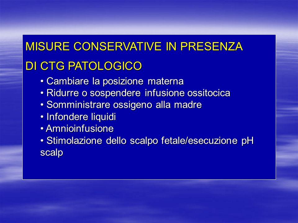 MISURE CONSERVATIVE IN PRESENZA DI CTG PATOLOGICO Cambiare la posizione materna Cambiare la posizione materna Ridurre o sospendere infusione ossitocic