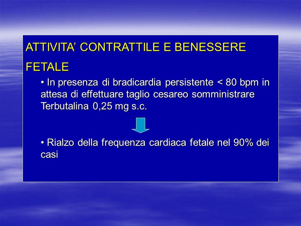 ATTIVITA CONTRATTILE E BENESSERE FETALE In presenza di bradicardia persistente < 80 bpm in attesa di effettuare taglio cesareo somministrare Terbutali