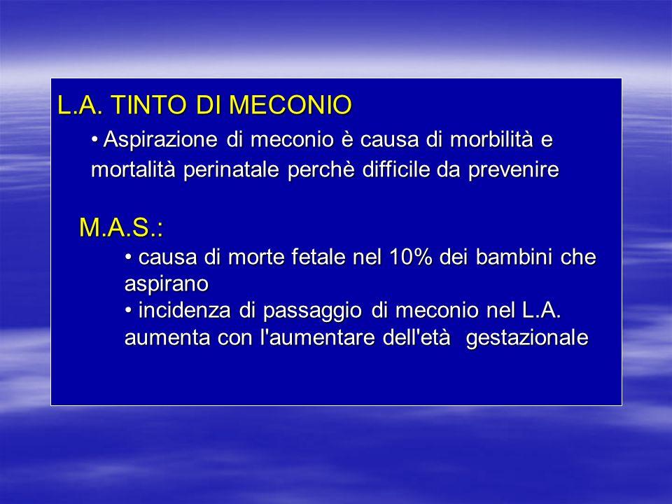 L.A. TINTO DI MECONIO Aspirazione di meconio è causa di morbilità e mortalità perinatale perchè difficile da prevenire Aspirazione di meconio è causa