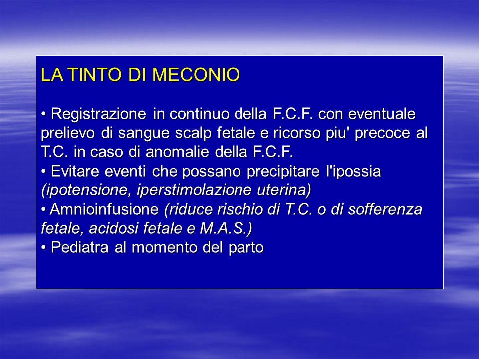 LA TINTO DI MECONIO Registrazione in continuo della F.C.F. con eventuale prelievo di sangue scalp fetale e ricorso piu' precoce al T.C. in caso di ano