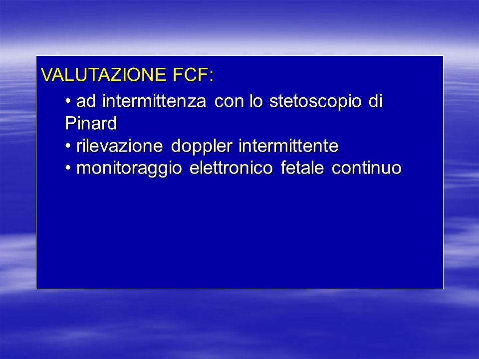 VALUTAZIONE FCF: ad intermittenza con lo stetoscopio di Pinard ad intermittenza con lo stetoscopio di Pinard rilevazione doppler intermittente rilevaz