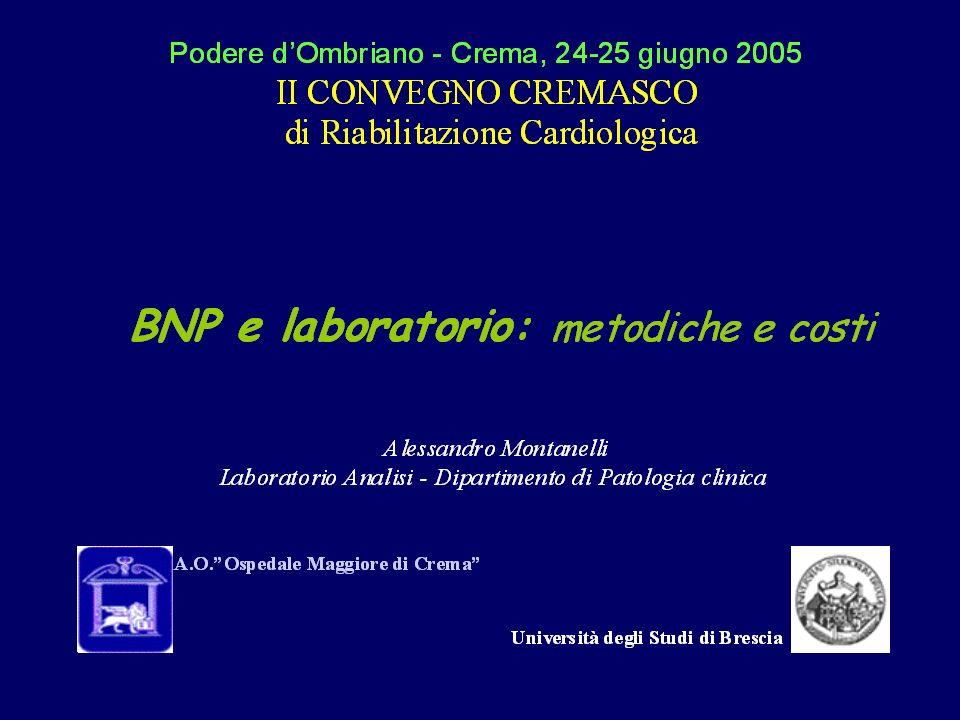 I peptidi natriuretici sono usciti ormai dallambito della ricerca per entrare nella pratica clinica cardiologica: una tappa storica è linclusione, pur con molte cautele, del dosaggio dei peptidi natriuretici nel numero degli esami che il medico ha a disposizione per fare diagnosi di scompenso cardiaco Gruppo Collaborativo Italiano sul BNP nellInsufficienza Cardiaca Ital Heart J Suppl 2003