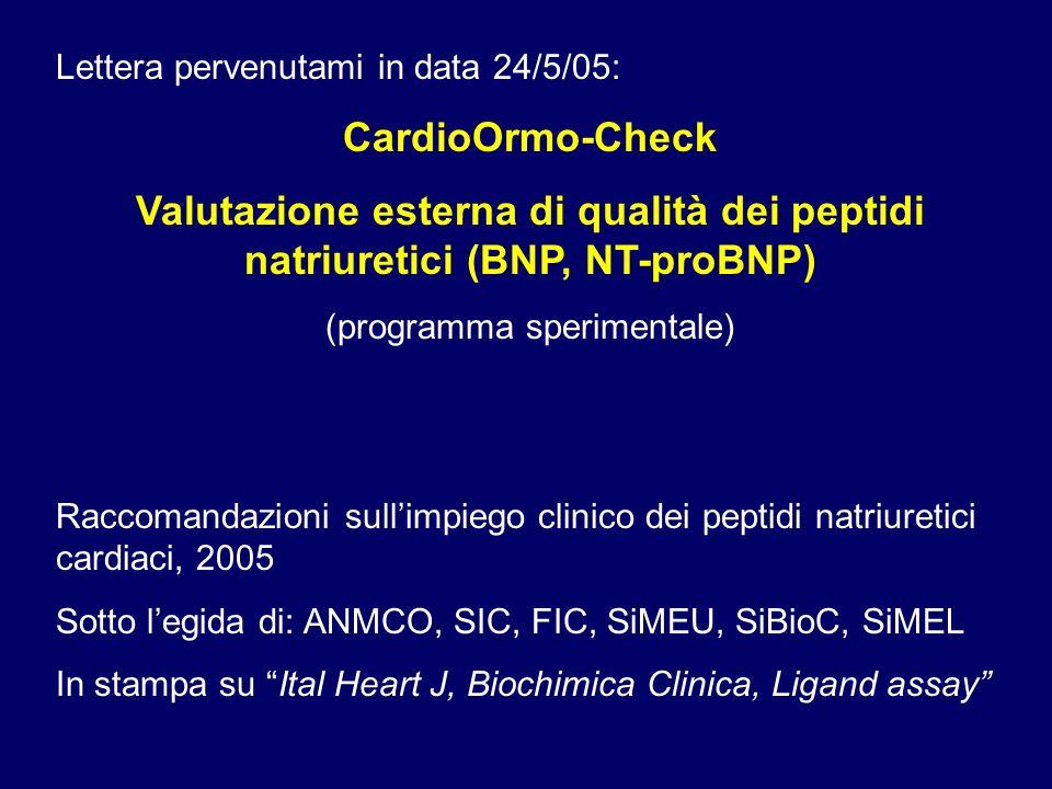 Lettera pervenutami in data 24/5/05: CardioOrmo-Check Valutazione esterna di qualità dei peptidi natriuretici (BNP, NT-proBNP) (programma sperimentale