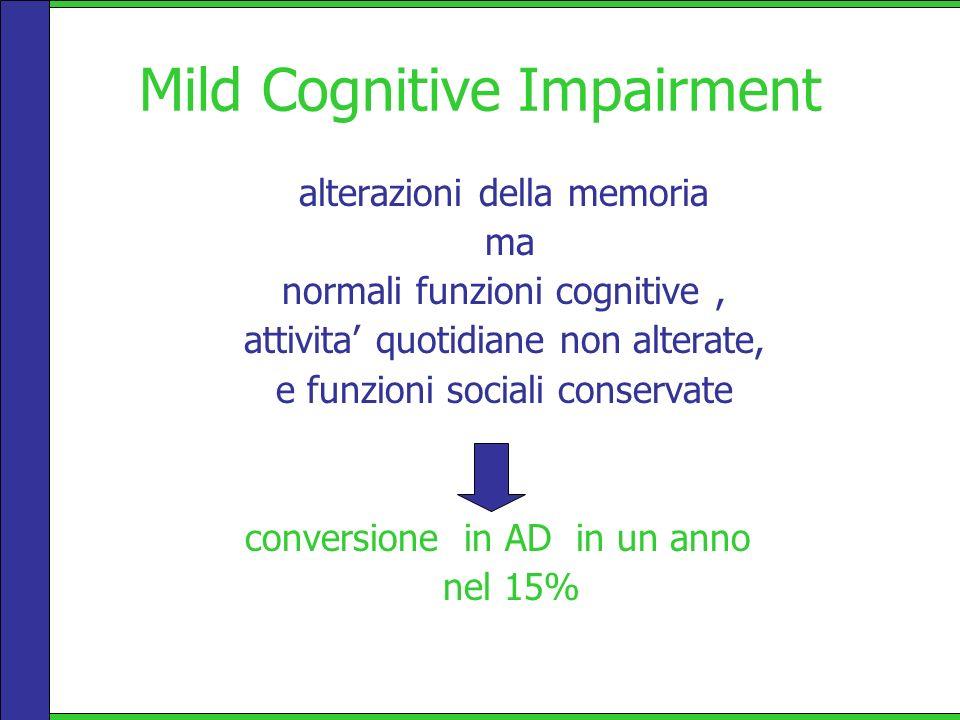 Mild Cognitive Impairment alterazioni della memoria ma normali funzioni cognitive, attivita quotidiane non alterate, e funzioni sociali conservate con