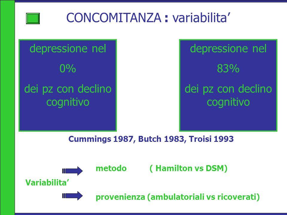 CONCOMITANZA : variabilita depressione nel 83% dei pz con declino cognitivo metodo ( Hamilton vs DSM) Variabilita provenienza (ambulatoriali vs ricove