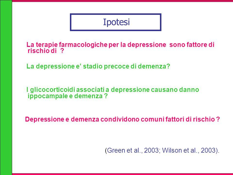 Ipotesi La terapie farmacologiche per la depressione sono fattore di rischio di ? La depressione e stadio precoce di demenza? I glicocorticoidi associ
