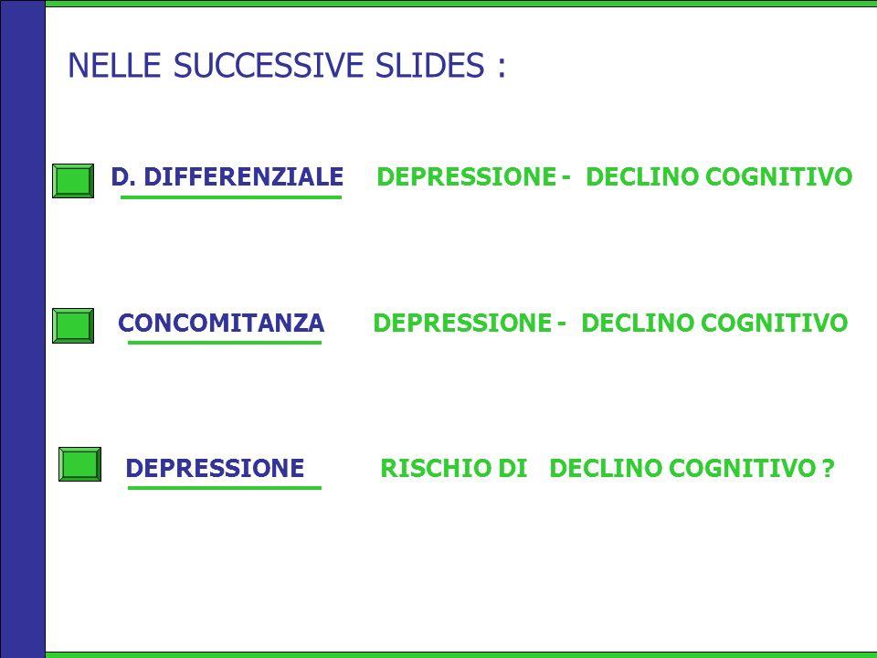 D. DIFFERENZIALE DEPRESSIONE - DECLINO COGNITIVO CONCOMITANZA DEPRESSIONE - DECLINO COGNITIVO DEPRESSIONE RISCHIO DI DECLINO COGNITIVO ? NELLE SUCCESS
