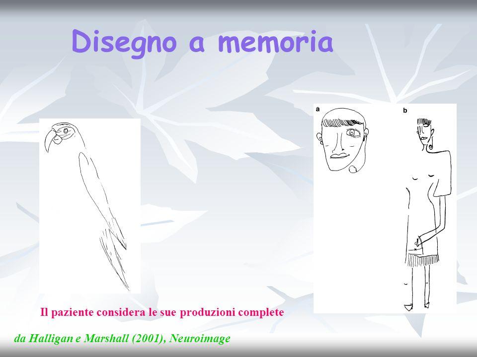 Disegno a memoria Il paziente considera le sue produzioni complete da Halligan e Marshall (2001), Neuroimage
