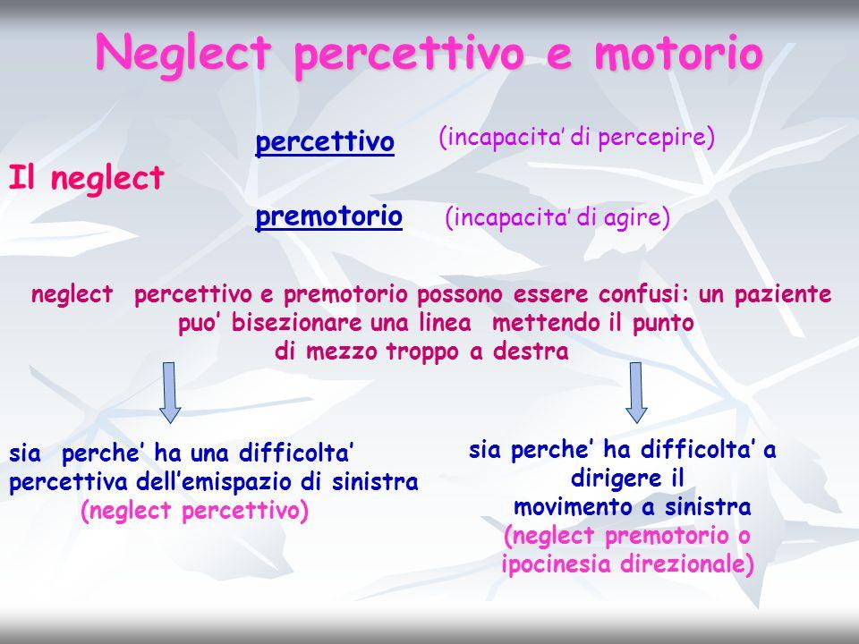 Neglect percettivo e motorio Il neglect percettivo premotorio (incapacita di percepire) (incapacita di agire) neglect percettivo e premotorio possono