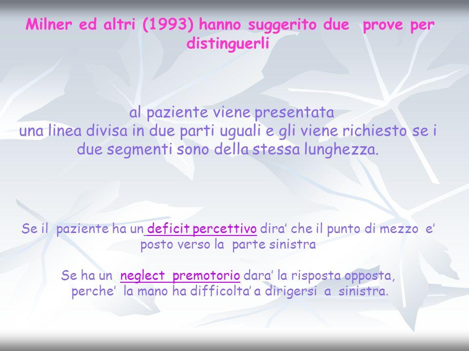 Milner ed altri (1993) hanno suggerito due prove per distinguerli al paziente viene presentata una linea divisa in due parti uguali e gli viene richie