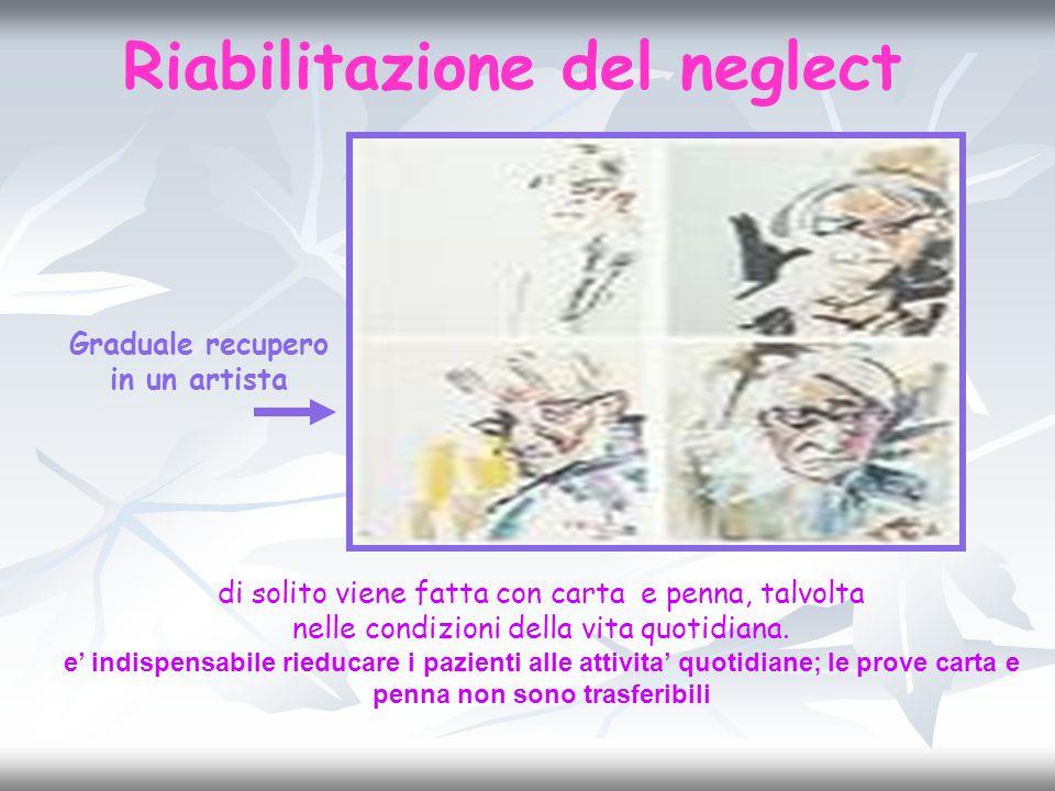 Riabilitazione del neglect di solito viene fatta con carta e penna, talvolta nelle condizioni della vita quotidiana. e indispensabile rieducare i pazi
