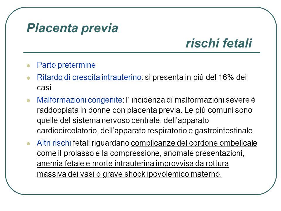 Placenta previa rischi fetali Parto pretermine Ritardo di crescita intrauterino: si presenta in più del 16% dei casi. Malformazioni congenite: l incid