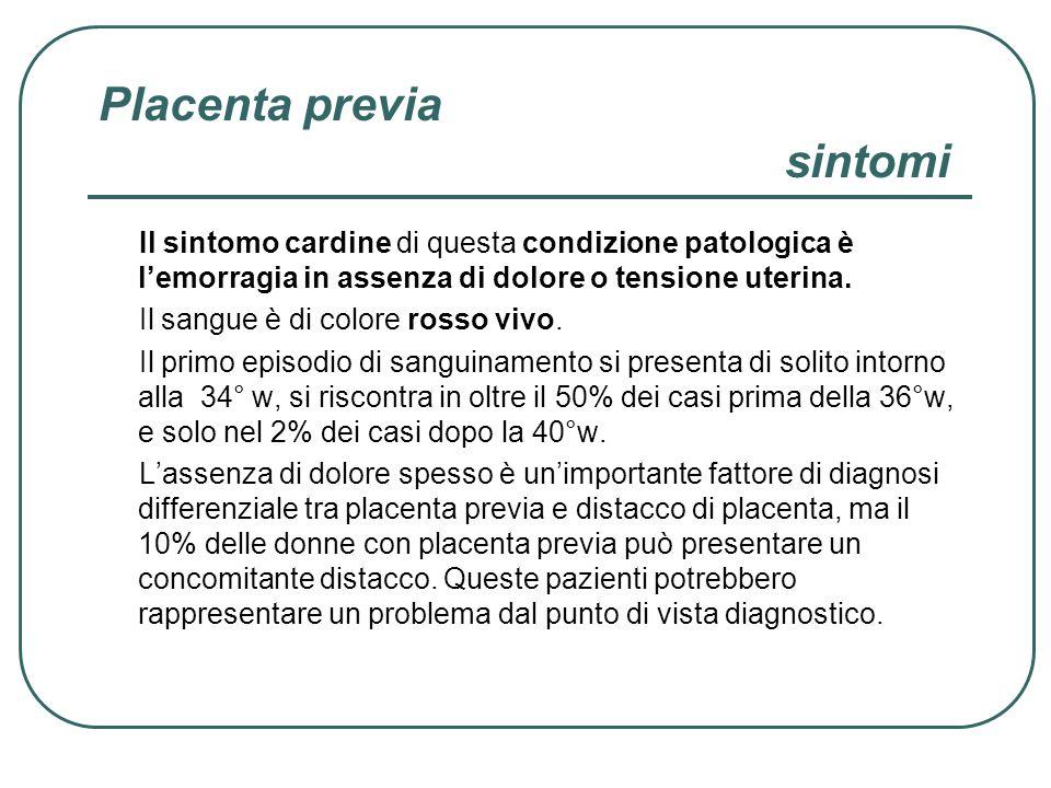 Placenta previa sintomi Il sintomo cardine di questa condizione patologica è lemorragia in assenza di dolore o tensione uterina. Il sangue è di colore