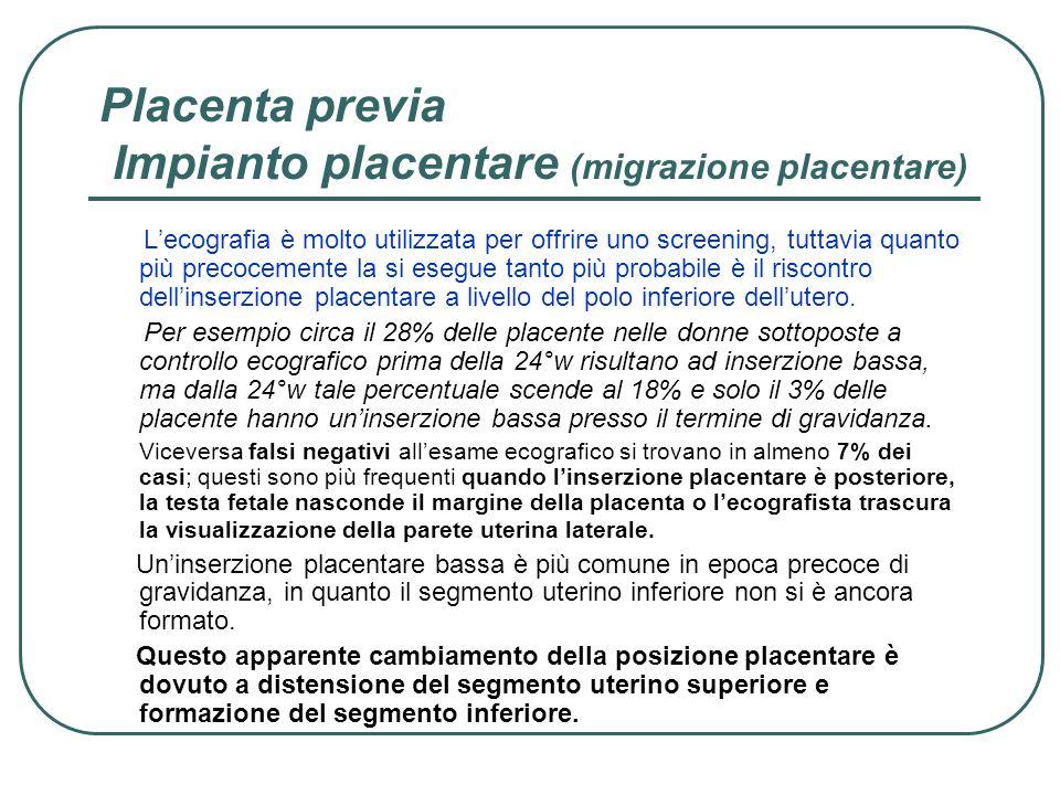 Placenta previa Impianto placentare (migrazione placentare) Lecografia è molto utilizzata per offrire uno screening, tuttavia quanto più precocemente
