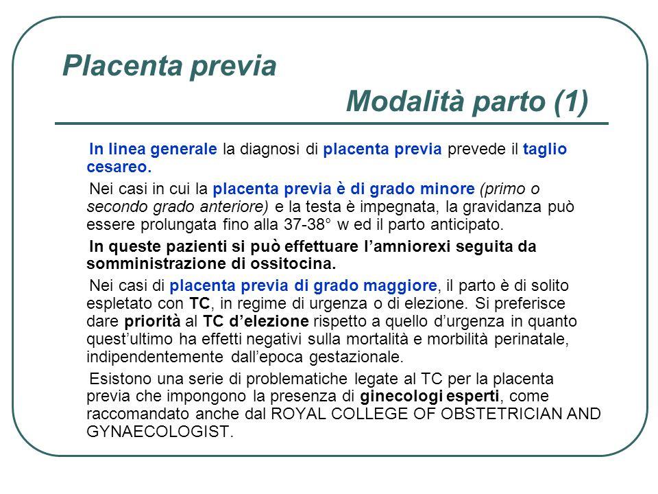 Placenta previa Modalità parto (1) In linea generale la diagnosi di placenta previa prevede il taglio cesareo. Nei casi in cui la placenta previa è di