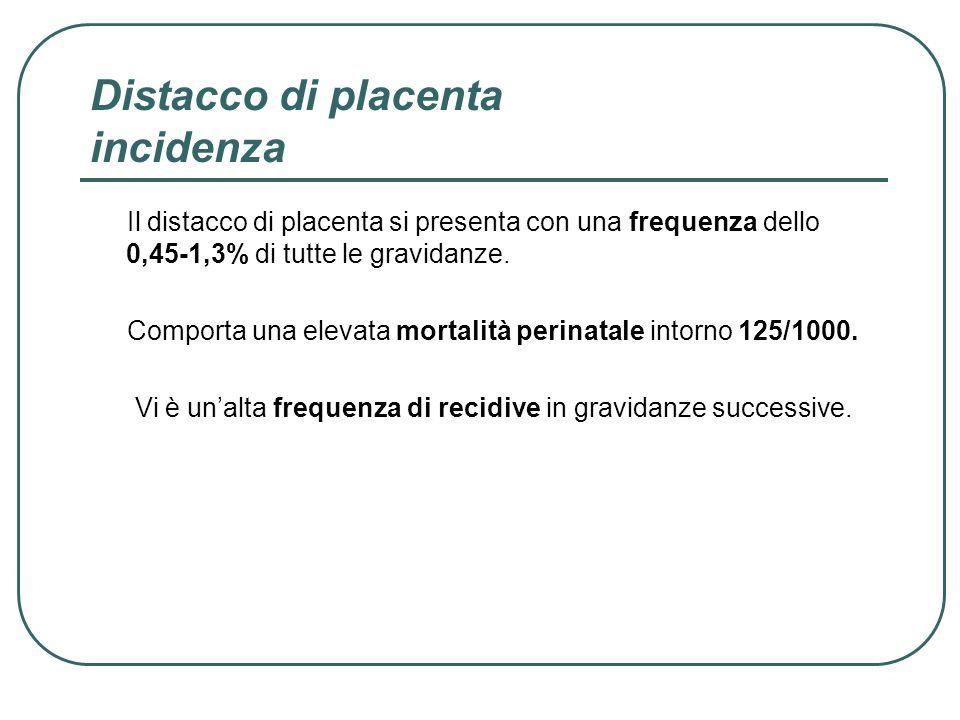 Distacco di placenta incidenza Il distacco di placenta si presenta con una frequenza dello 0,45-1,3% di tutte le gravidanze. Comporta una elevata mort