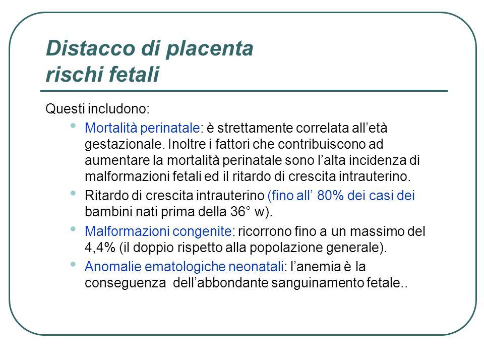 Distacco di placenta rischi fetali Questi includono: Mortalità perinatale: è strettamente correlata alletà gestazionale. Inoltre i fattori che contrib