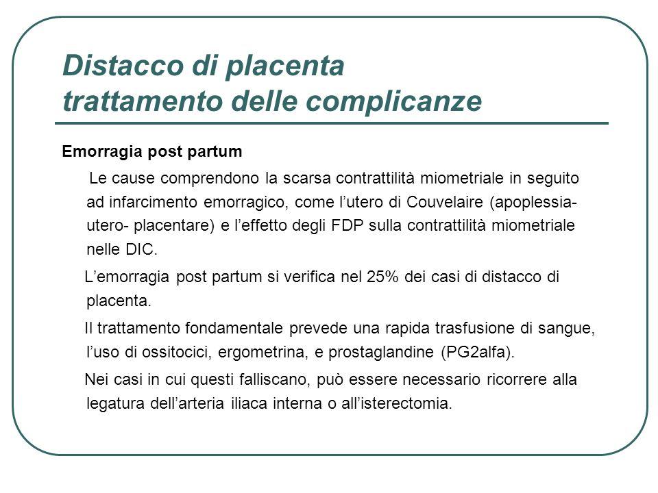 Distacco di placenta trattamento delle complicanze Emorragia post partum Le cause comprendono la scarsa contrattilità miometriale in seguito ad infarc