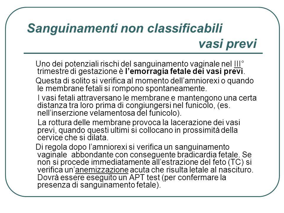 Sanguinamenti non classificabili vasi previ Uno dei potenziali rischi del sanguinamento vaginale nel III° trimestre di gestazione è lemorragia fetale